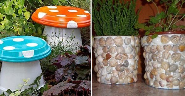 Пластиковые ведерки в садовом дизайне