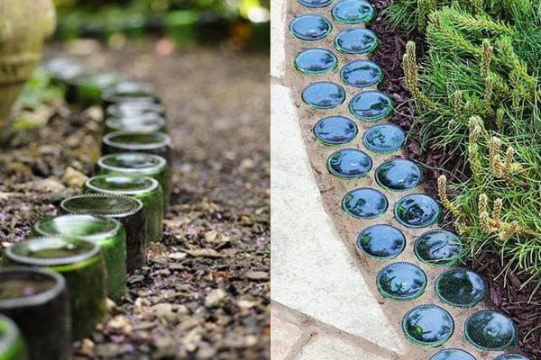 Садовые бордюры из стеклянных банок и бутылок
