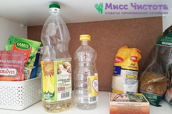 Растительное масло в кухонном шкафу