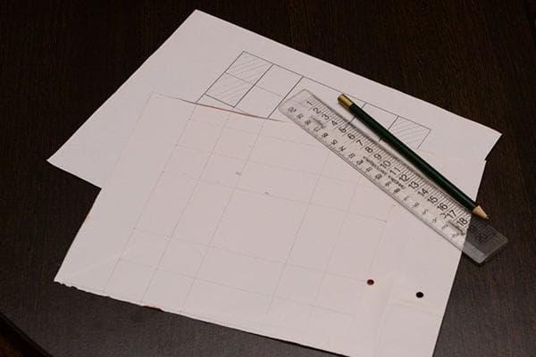 Перенос шаблона коробки на упаковочную бумагу
