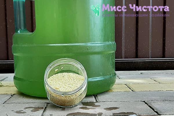 Пшено и позеленевшая изнутри 19-литровая бутыль с водой