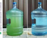 Чистка 19-литровой бутыли для кулера от зелени - до и после
