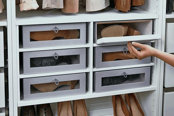 Ящики для хранения обуви в шкафу