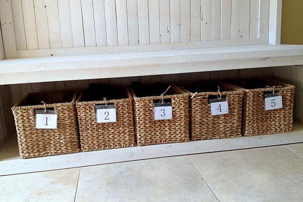 Плетеные корзины для хранения обуви