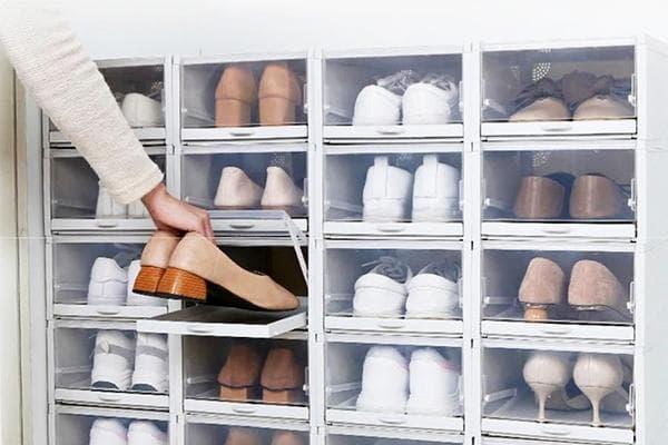 Прозрачные ячейки для хранения обуви