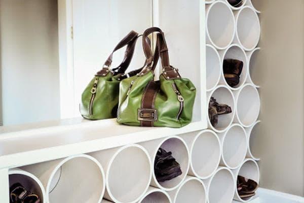 Система хранения обуви, сделанная из полипропиленовых труб