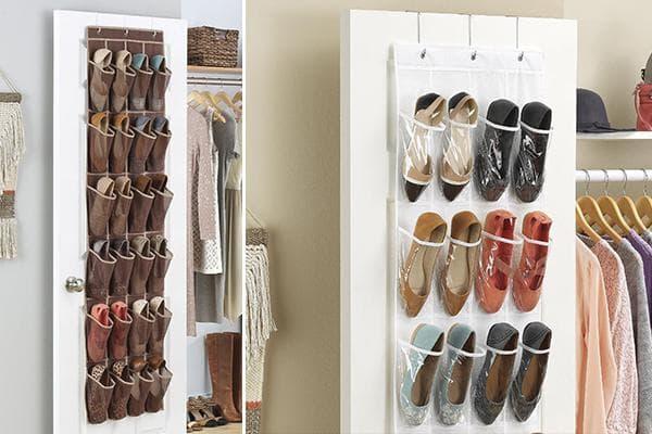 Хранение обуви в органайзерах на дверях