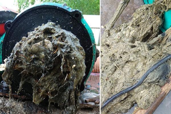 Засор канализации влажными салфетками