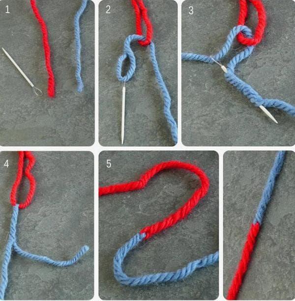 Соединение шерстяной пряжи при помощи иголки