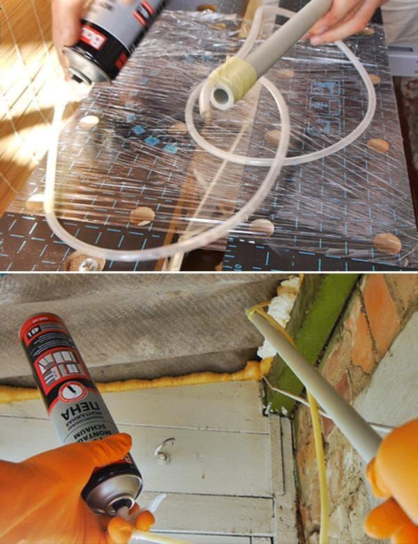Приспособление для использования монтажной пены под крышей
