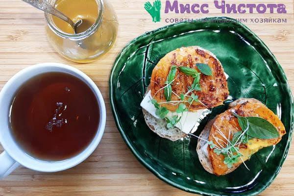 Жареная хурма на бутерброд с чаем