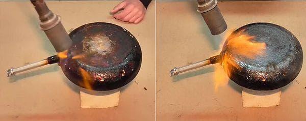 Термическая обработка сковороды с помощью паяльной лампы
