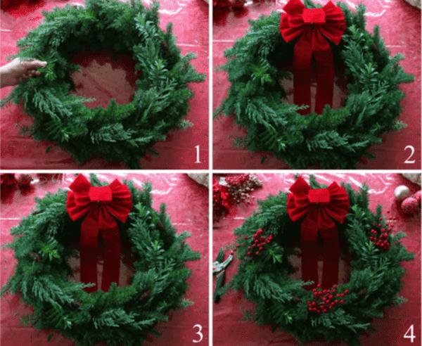 Принцип изготовления рождественского венка из живых веток 1