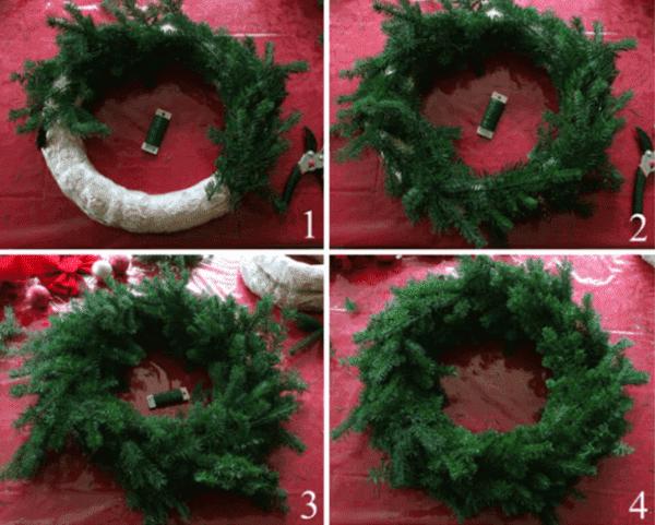 Принцип изготовления рождественского венка из живых веток 2