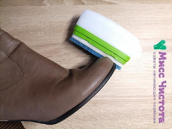 обработка кожаной обуви специальными средствами