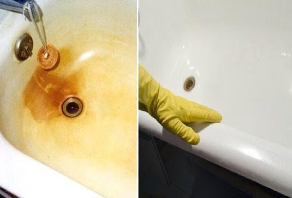 Фото ванны до и после чистки