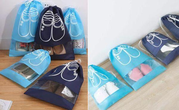Хранение в обуви в текстильных мешках
