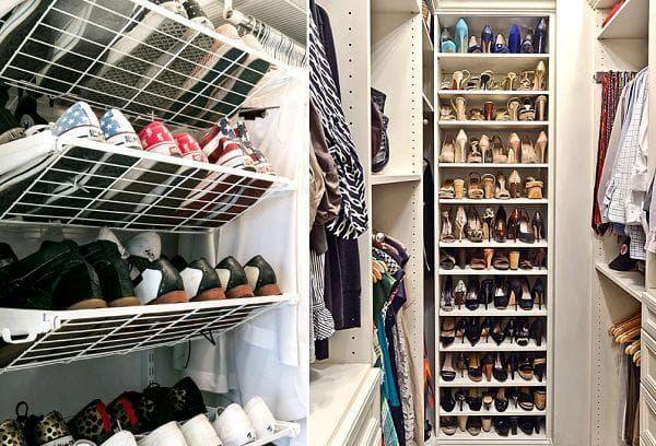 Хранение обуви в гардеробной и кладовке