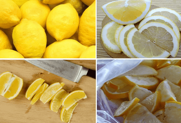 Заморозка лимонов дольками