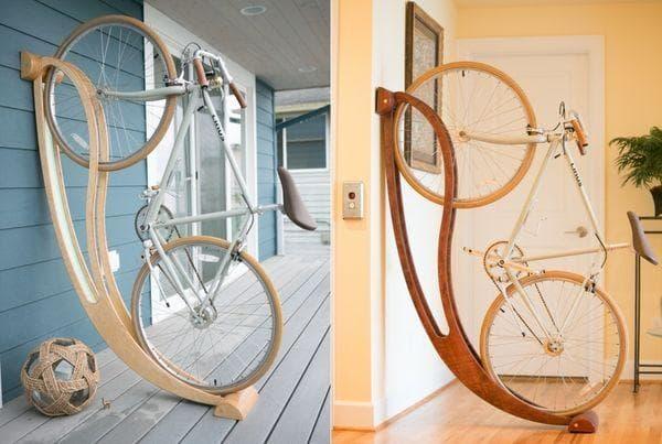 Ажурные деревянные стойки для велосипедов