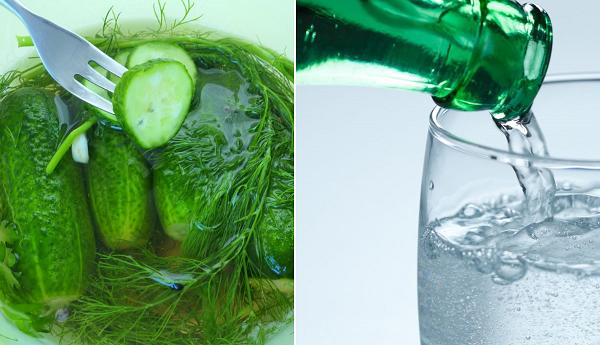 Минеральная вода и огурцы