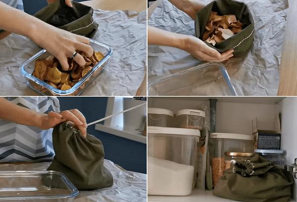Хранение сухофруктов в тканевом мешке